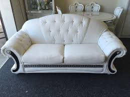 Versace Living Room Furniture Versace Sofa 3 Str 2 Str Sofa Set White Leather With Diamonds