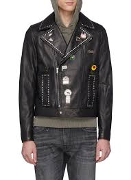 main view to enlarge saint lau mix logo pin studded leather biker