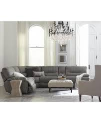 Liam 6 Pc Fabric Sectional Sofa With Console And 3 Power Recliners