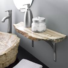 stone coloured bathroom accessories. stone bathroom shelf - beautiful contrast between the clean lines of machined supports and coloured accessories o