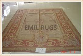 authentic wool french 10 x 14 ivory field red border flat weave aubusson rug gc8aub180