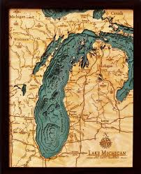 Great Lakes Navigation Charts Lake Michigan 3 D Nautical Wood Chart 16 X 20