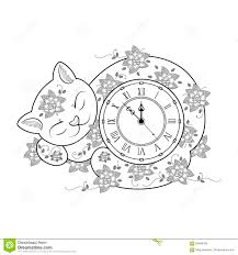 Drawing Coloring Page Kids C Cat Isolated White Background Stock ...