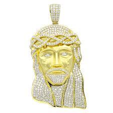 hip hop jewelry piece large face vs diamond pendant for men 18k gold yellow image