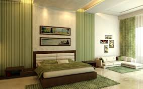 bedroom attractive design ideas using green loose curtains and