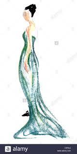 Fashion Drawing Woman Evening Dress Illustration Illustrations