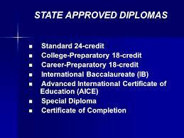 differentiated high school diplomas plan standard credit   career preparatory 18 credit international baccalaureate ib advanced international certificate of education aice special diploma certificate of