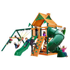 mountaineer wooden playset with timber shield posts 2 slides and rock climbing