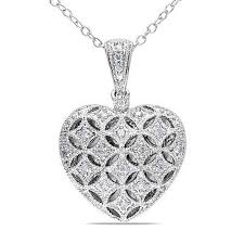 details about sterling silver 1 7 ct diamond tw heart locket pendant design necklace 18 chain