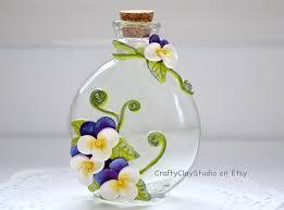 Decorated Bottle - Embellished Bottle - Flower Decor - Polymer Clay Flowers  - Flower Vase -