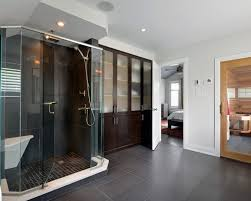 ottawa glass enclosed shower with home builders bathroom transitional and recessed light in window over bath
