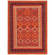 jaipur rugs anatolia 4 x 6 flat weave wool rug in orange and red rug100193