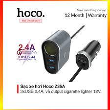 Tẩu Sạc Điện Thoại trên Xe hơi 2.4A Hoco Z35A kèm đầu sạc phụ đi kèm với  đèn LED màu xanh - SmartShop - Adapter sạc - Củ sạc thường Nhãn hàng
