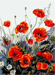 bloom red poppies 16x20 inches diy paint jpg
