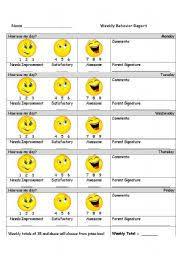 Behavior Chart Esl Worksheet By Tessarl