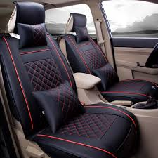 super pdr universal fit car seat covers set pu classic leather seat covers 5 seats full set front rear car bucket anti slip easy to clean black red l