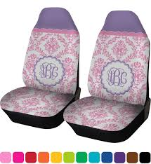 pink white purple damask car seat covers set of two personalized