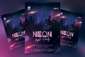 Neon Night Party Free Psd Flyer Template Psdflyer Co