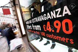 Sale Signs In Shop Window Christmas January Big Reductions Stock