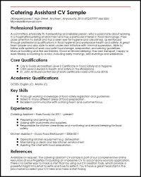 Caterer Resume Catering Assistant Cv Sample Myperfectcv
