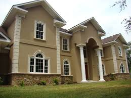 Architectural House Design With Artistic Gate And Two Story And - Exterior stucco finishes