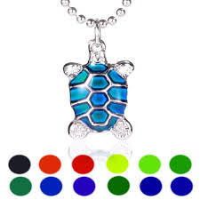 Mood Necklace Color Chart Turtle Sensitive Liquid Stone Thermo Mood Changing Color Pendant Necklace