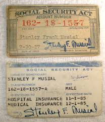 Social From Musial 1985 Security Cards amp; Stan 1937 Medicare Own Musial's Estate
