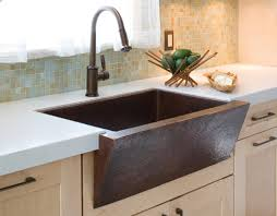 Modern Copper Farmhouse Sink With Bronze Kitchen Sink Faucets And