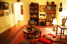 Living Room Top Notch Design Ideas Using Rectangular Red Motif Rugs And Moroccan  Style Interior Design