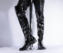 errfc new mens black over the knee boots luxury patent leather boots 55cm tall med heels man trending shoes pole dancing bootie shoes from