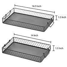 Decorative Wire Tray Black Galvanized Metal Wire Nesting Serving Trays Decorative 51
