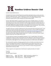 Cover Letter Sponsorship Hamilton Football Sponsors
