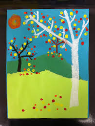 2nd Grade Fall Landscapes, learning about depth. Collage, oil pastel and q-