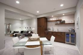 wet bar ideas Basement Contemporary with beverage cooler carpeting