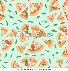 repeating pizza background. Beautiful Background Seamless Pattern With Assorted Pizza Slices Vector Illustration Repeating  Background In A