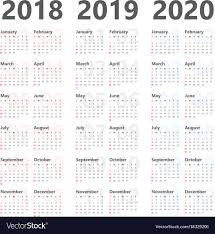3 Year Calendar Yearly Calendar For Next 3 Years 2018 To 2020 Vector Image