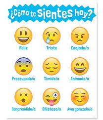 Spanish Feelings Chart Como Te Sientes Hoy Emoji Chart Emoji Chart Feelings