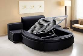 Amazon.com: Vig Furniture Owen Black Leather Round Bed with Storage: Home &  Kitchen