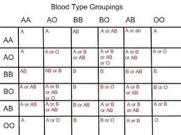 Blood Determination Chart Blood Type Chart For Parents Blood