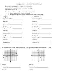 3 6 equations in slope intercept form