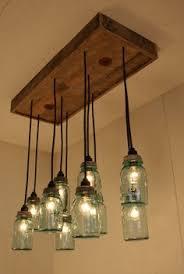 mason jar lighting fixture. Mason Jar Chandelier, Pendant Lighting Fixture, 3 Clear And Blue  Jars, Rustic Hanging Pendants, Bulbs Included | Project Mason Jar Lighting Fixture S