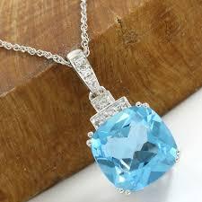 no reserve 14kt white gold 6 50 ct swiss blue topaz pendant necklace 45