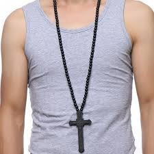 large wood catholic cross with wooden bead carved rosary pendant long collier statement necklace men