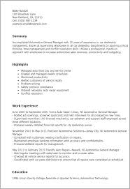 Auto Service Manager Resumes 1 Automotive General Manager Resume Templates Try Them Now