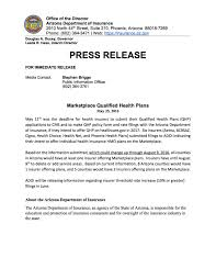 arizona department of insurance marketplace qualified health plans may 25 2016