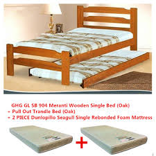 GREEN HOME SB 904 Single Bed Frame + Pull Out Bed + 2 Piece Dunlopillo  Seagull ...
