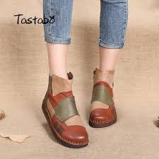 tastabo fashion design shoes women mixed color retro casual handmade ankle boots flat real genuine leather