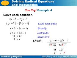 holt mcdougal algebra 2 solving radical equations and inequalities cube both sides
