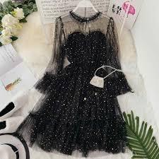HISUMA <b>spring autumn new</b> women Star sequins gauze flare sleeve ...