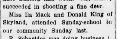 Mention of Ila Mack, living at Skyland - Newspapers.com